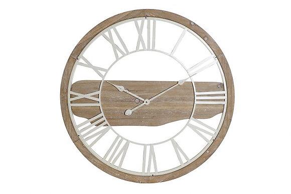 Grande horloge en métal et bois naturel