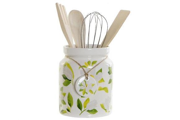 """Pot à ustensiles """"Magnolias"""" avec 4 ustensiles"""