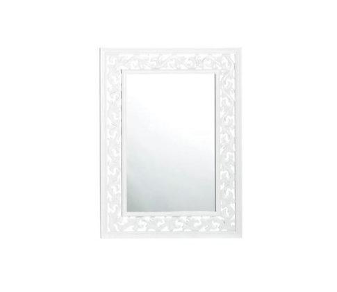 Miroir blanc à ornements