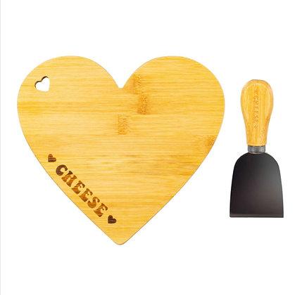 Plateau à fromage coeur avec son couteau (précommande)