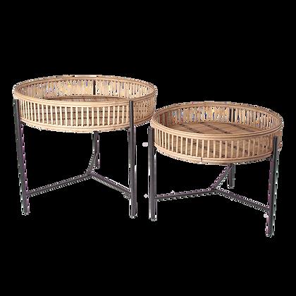 """Lot de deux tables gigognes """"wood"""""""