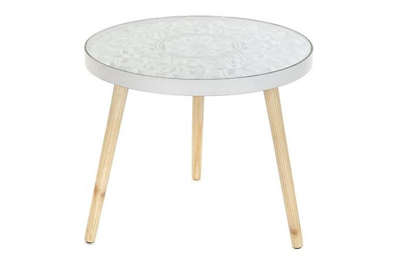 "Table d'appoint en manguier et verre ""Mandala"""