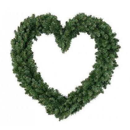 Grande couronne de branches de pin coeur