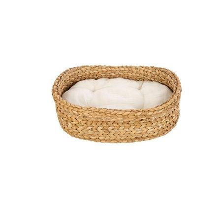 Panier en rotin avec coussin blanc pour animaux