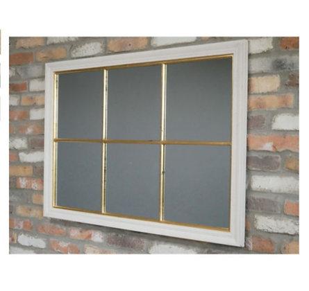 Miroir effet fenêtre blanc et doré
