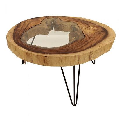 Table basse bois et verre (réapprovisionnement)