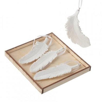 Lot de 4 plumes décorative en résine