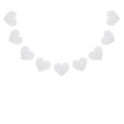 Guirlande en bois coeur blanc