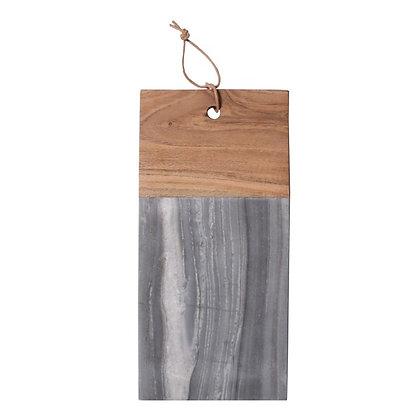 Planche à découper en marbre gris et bois