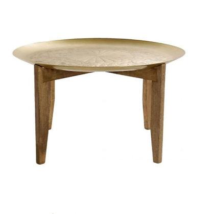 Table à café en bois et laiton gravé