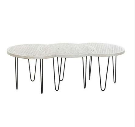 """Lot de trois tables gigognes """"White"""""""