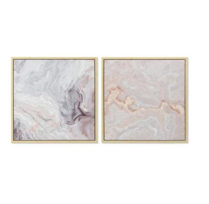 "Lot de deux toiles encadrés ""Marble rosy"""