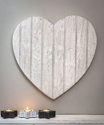 Plaque décorative coeur en bois