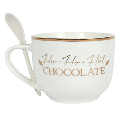 Tasse à chocolat chaud avec sa cuillère