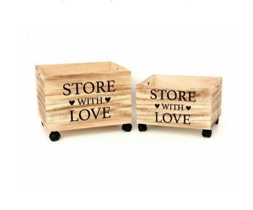 """Caisses de rangement à roulettes """"With love"""" (précommande)"""