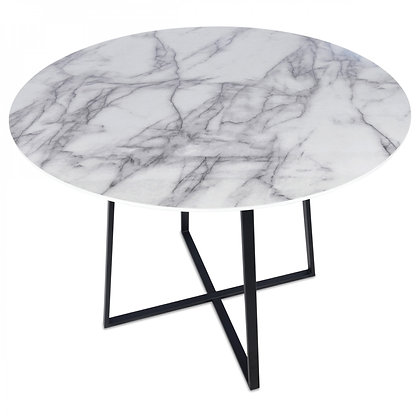 Table basse ronde effet marbre