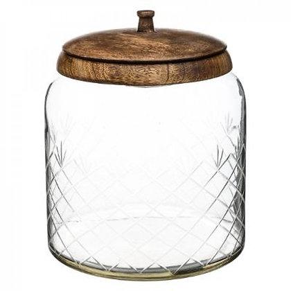 Bocal de conservation en bois de manguier et verre