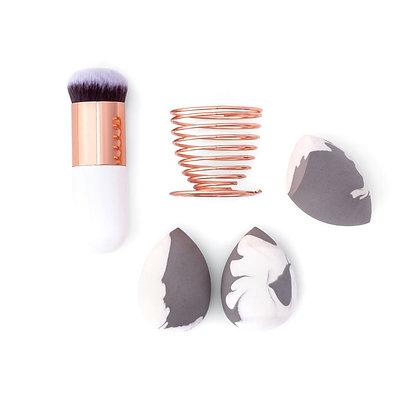 Set de 3 éponges à maquillage marbré, kabuki pinceau et porte éponge rosegold