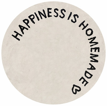 "Tapis rond brodé ""Hapiness is homemade"""