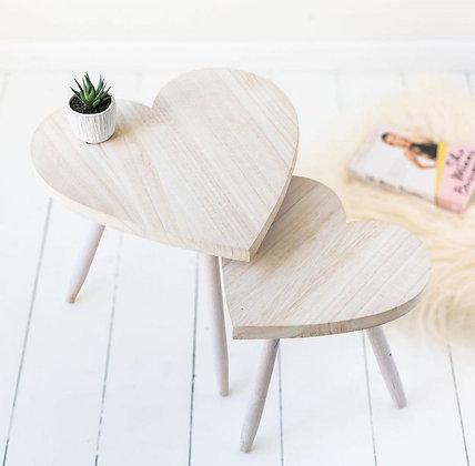 Lot de deux tables coeur
