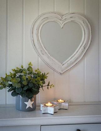 Miroir coeur en bois de manguier (précommande)
