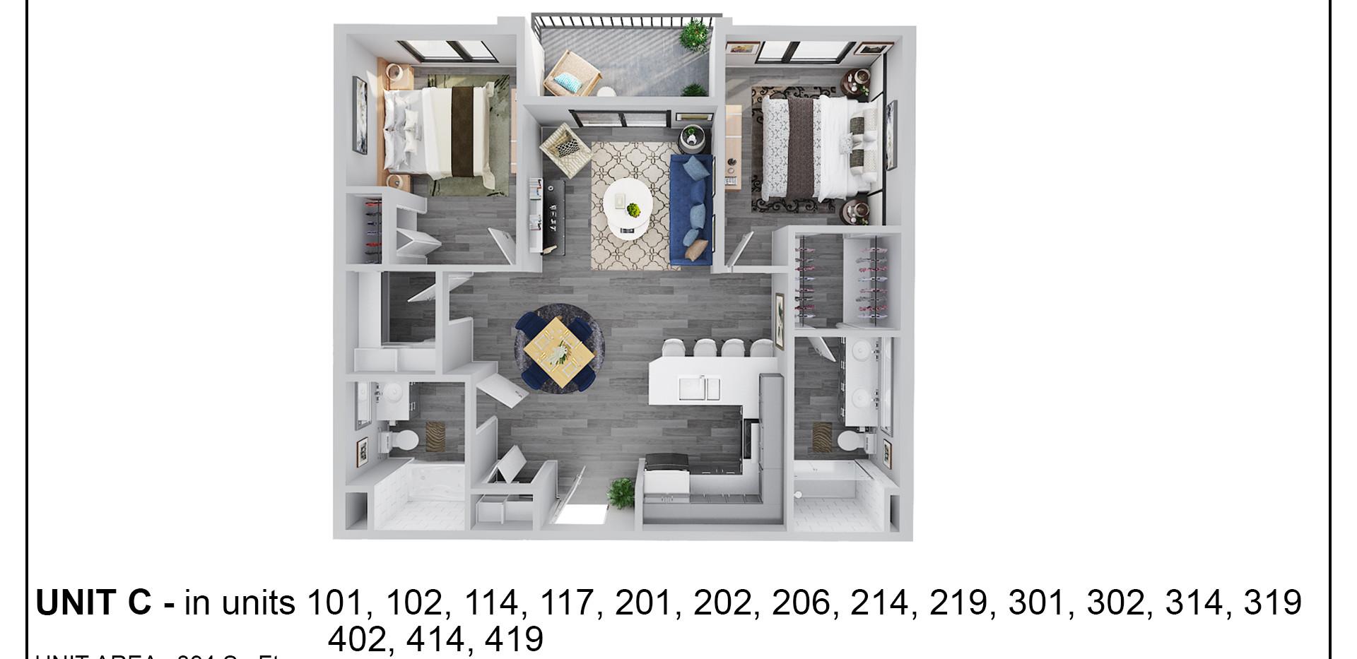 Floor Two - Unit C - 201, 202 & 206