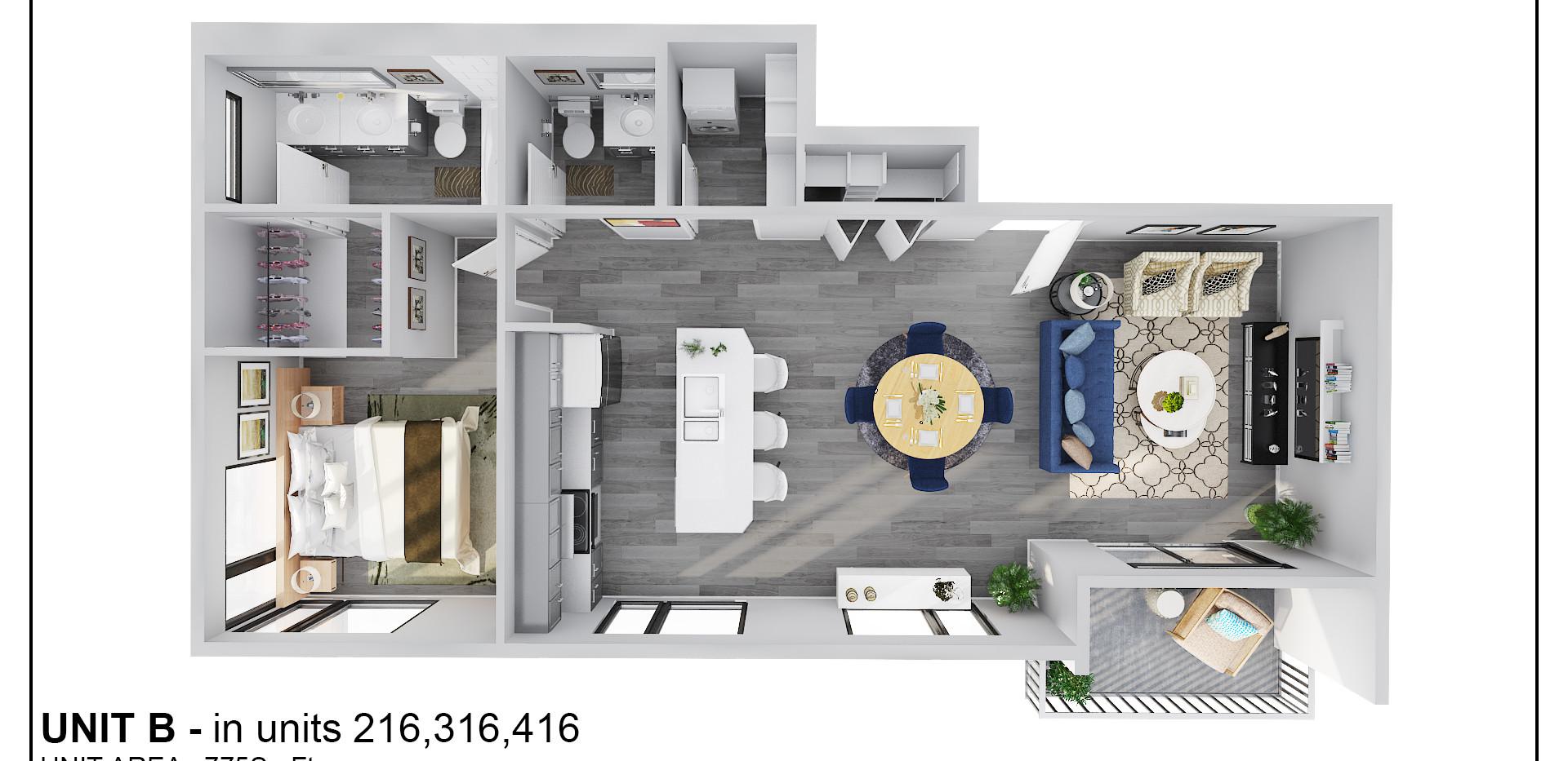 Floor Two - Unit B - 216