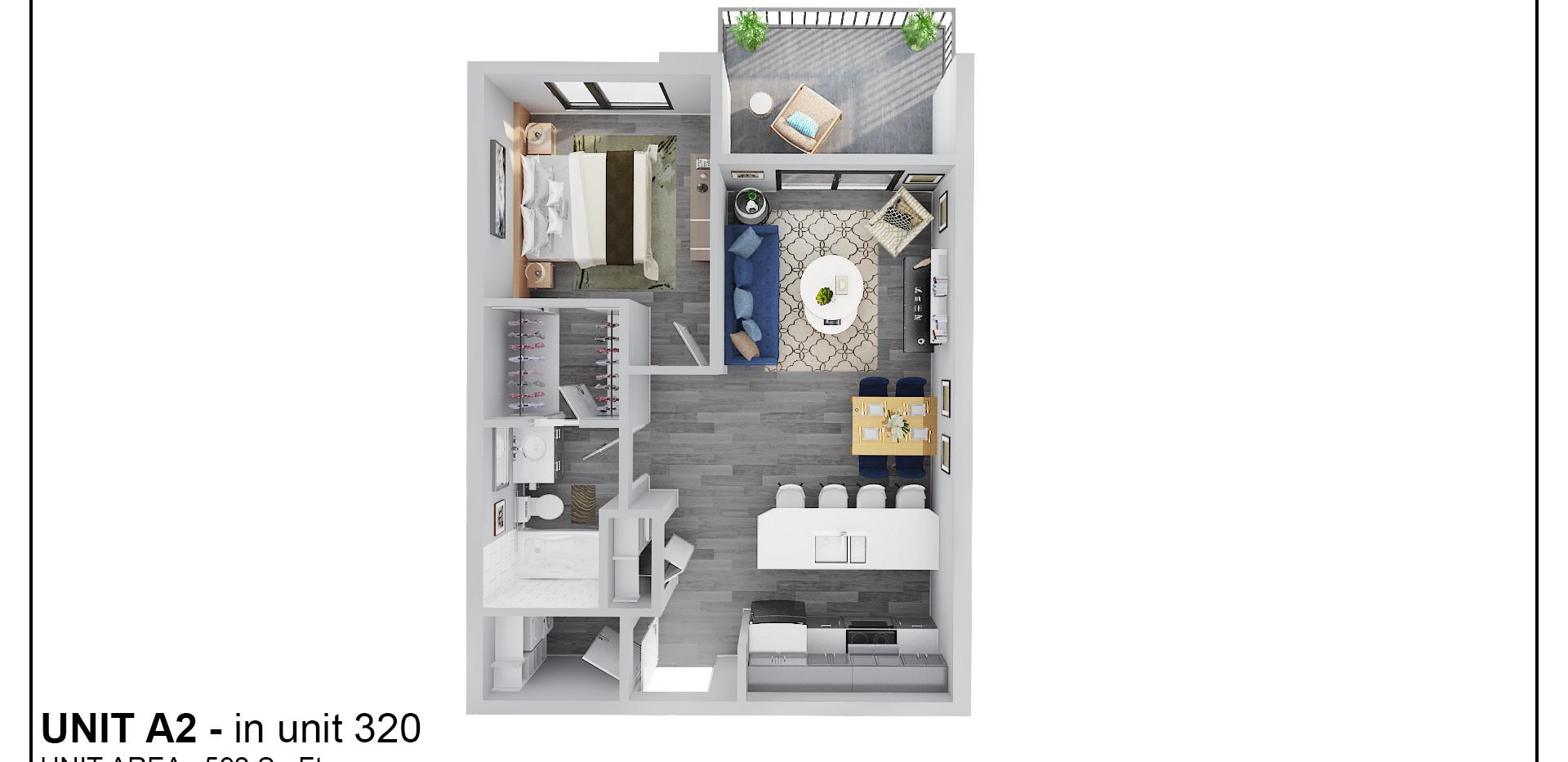Floor Three - Unit A2 - 320