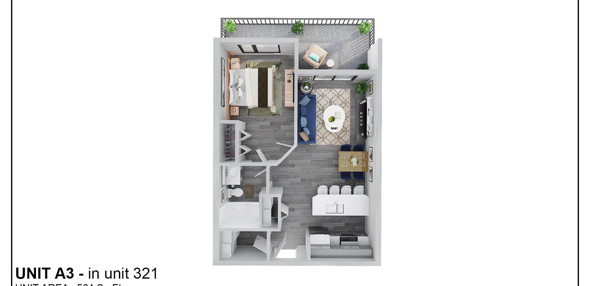 Floor Three - Unit A3 - 321