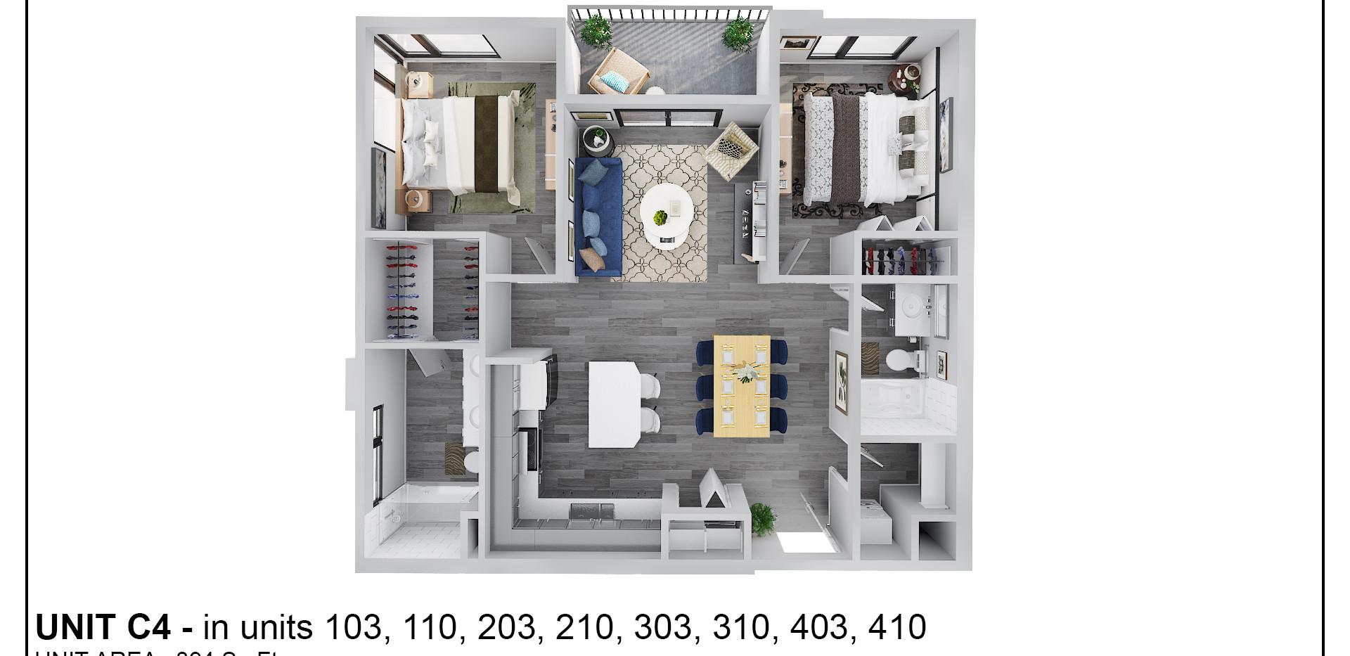 Floor Two - Unit C4 - 203 & 210