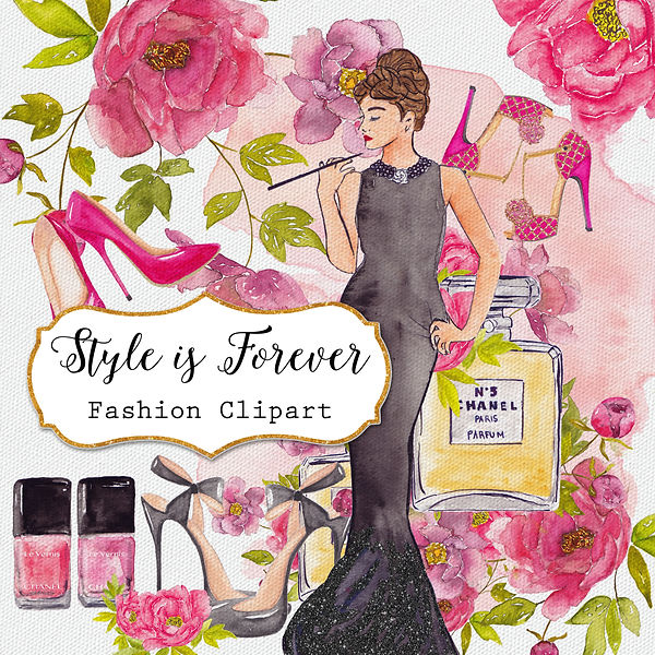 Hand Painted Watercolor Fashion Clipart