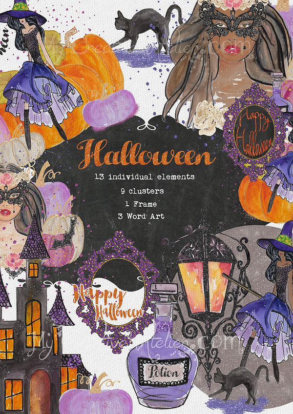 Halloween Chic Fashion Clipart