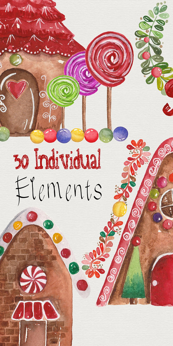 Watercolor painted Gingerbread houses. Christmas clipart