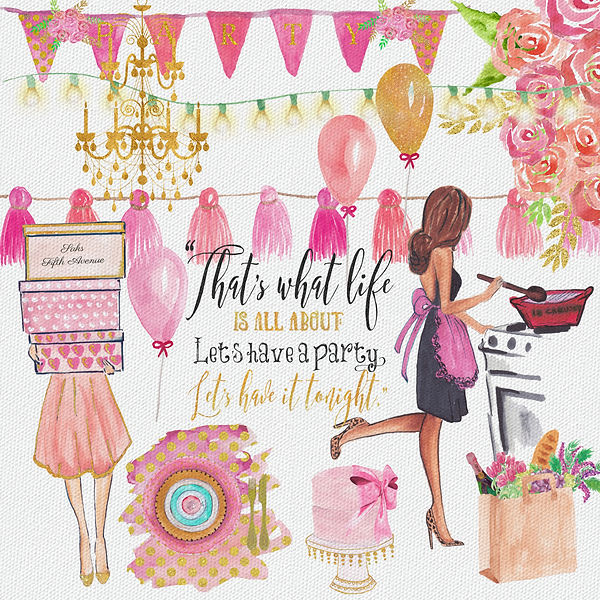 Hand Painted Watercolor Dinner Party Clipart