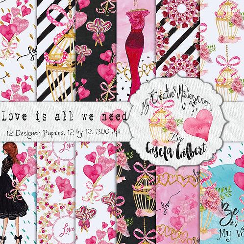 Love is all we need Digital paper pack