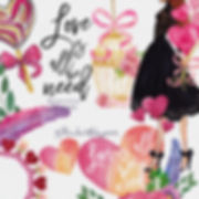 Watercolor heart, love and Fashion Clipart