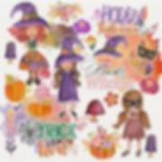 Halloween Cute little girl, pumkin and fox Clipart