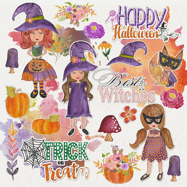 Halloween Cute little girl, pumkin and fox Clipart