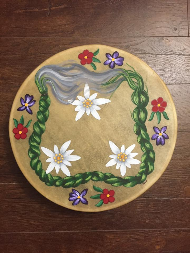Burning Sweetgrass & Flowers Drum