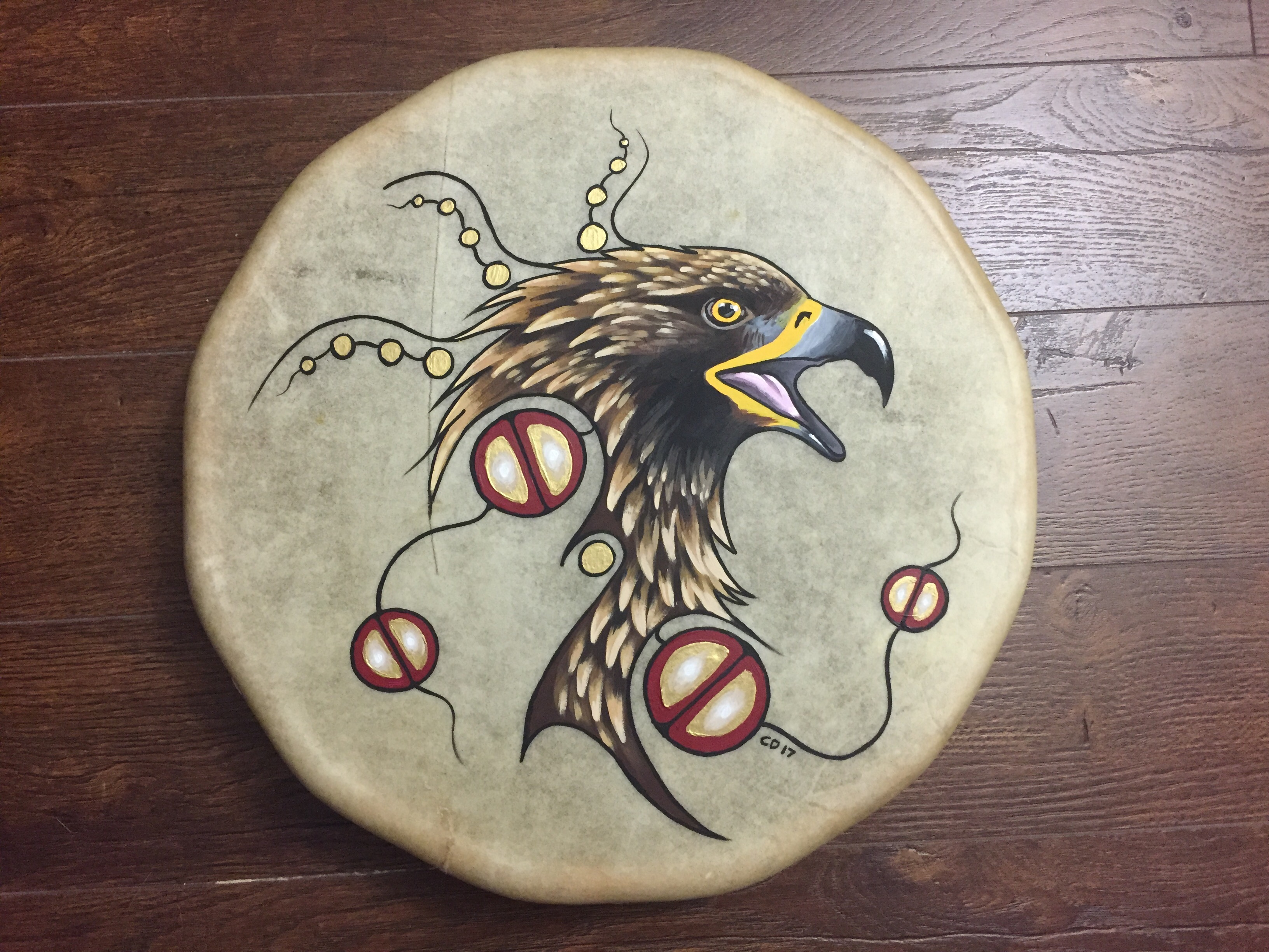 Golden Eagle Drum Painting