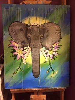 Elephant & Lilies