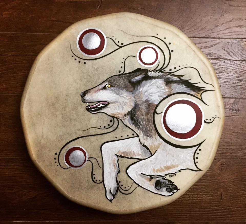 Leaping Wolf Drum