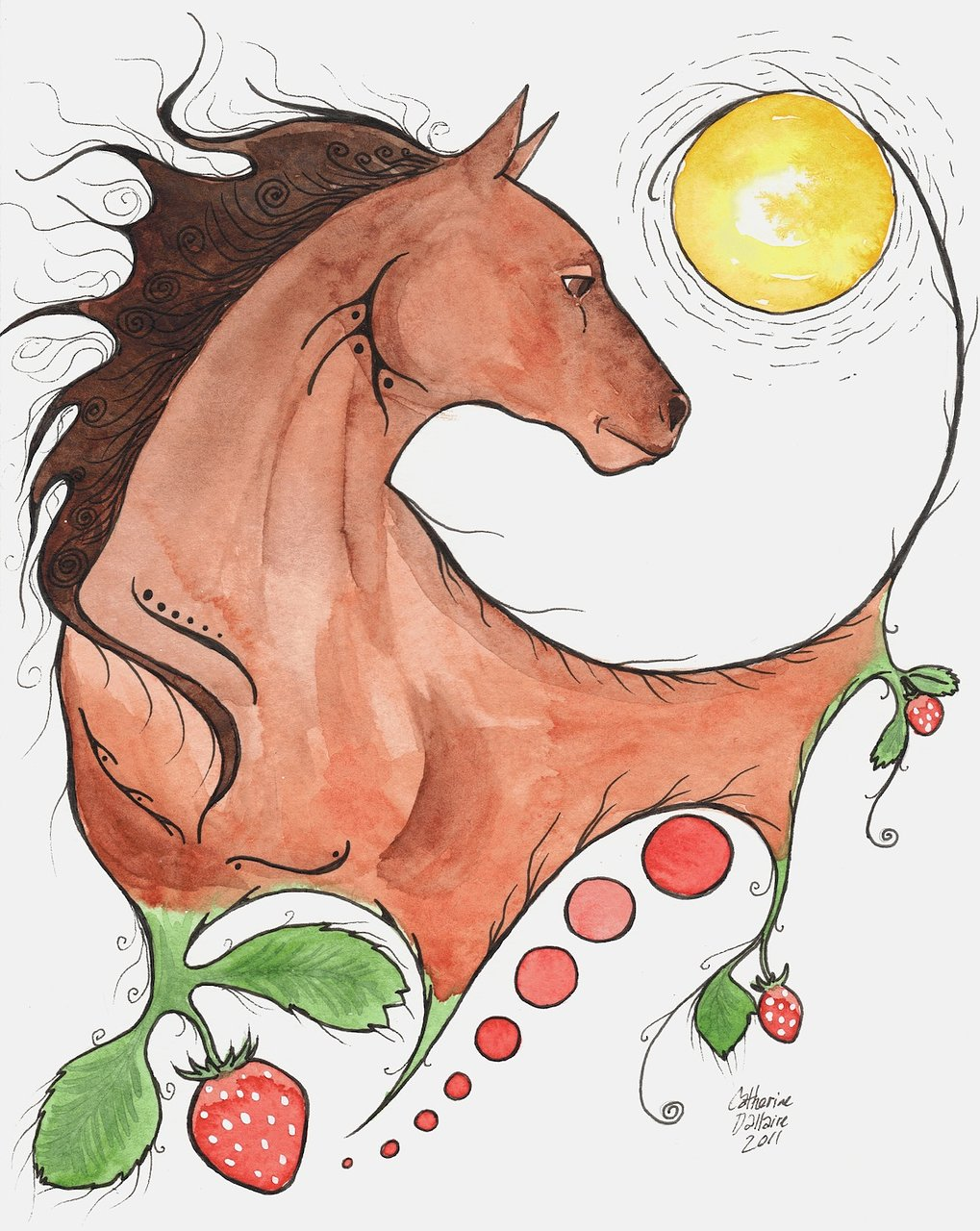 Strawberries, Horse and Sun