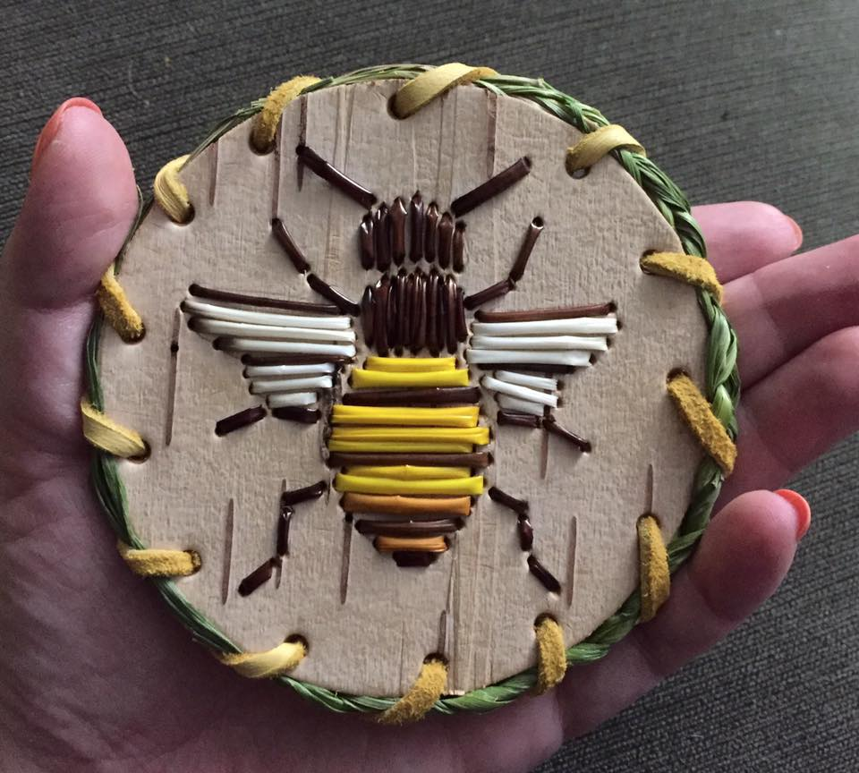 Bee Quillwork Barrette