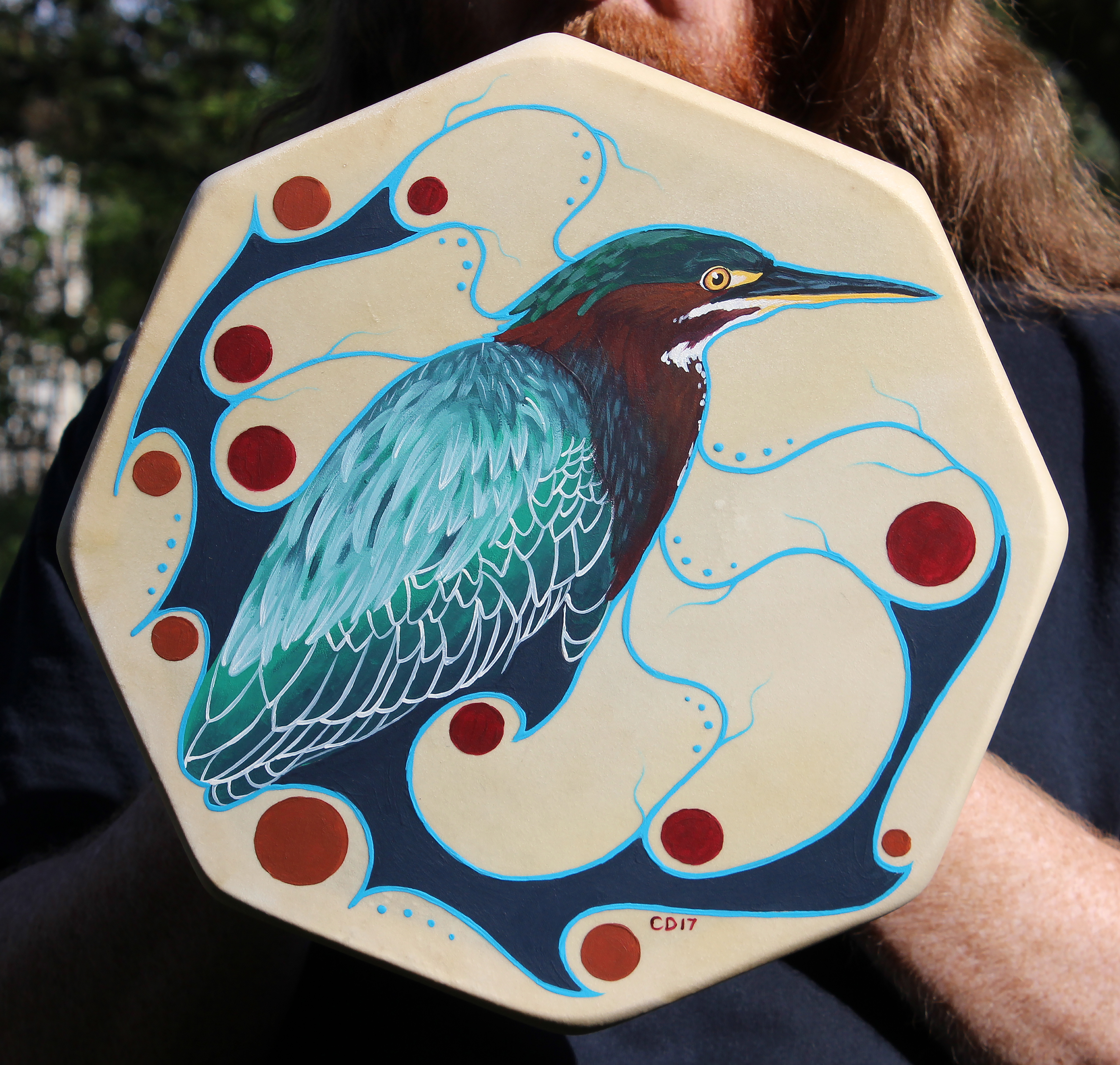 Green Heron Drum Painting
