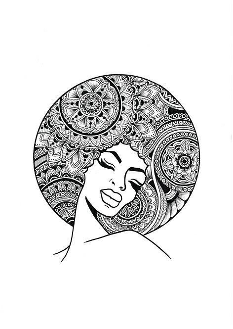 'Afro Queen' A4 unframed print
