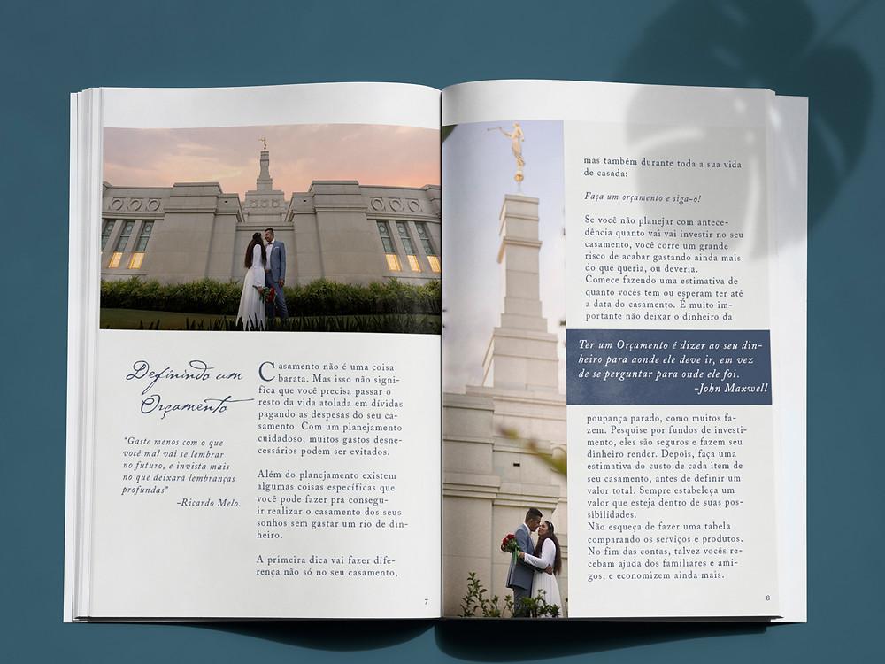Foto interna do Guia de Planejamento de Casamento como fotos de casais .