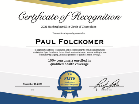 """Broad River Insurance Agents Awarded Spots in """"2021 Marketplace Elite Circle of Champions"""""""