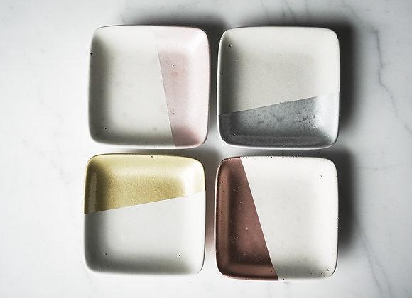 White and Metallic Square Dish