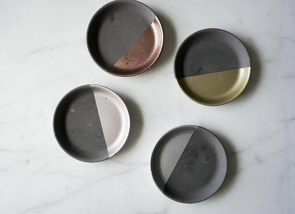 Charcoal and Metallic Round Dish